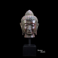 "Bronze Buddha 17.5"" Head Sculpture Indonesia Fine Buddhist Statue On Wooden Metal Stand Serene Tranquil Peaceful Buddha Bust Zen Home Decor"