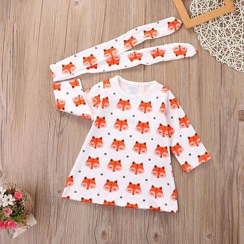 Newborn Baby Girls Long Sleeve Cotton Cute Cartoon Fox Dress Headband Outfits 2pcs Baby Clothing Set