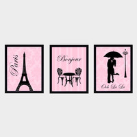 Paris Themed Wall Art Prints, Set of 3, Black on Vintage Pink CUSTOMIZE YOUR COLORS 8x10 Prints, home and nursery decor print art baby decor