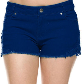 Cutoff Jean Shorts W/ Crochet Lace Trim