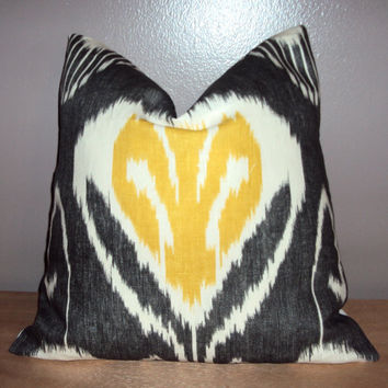 18x18 Designer Linen Ikat Pillow Cover - Citrine Yellow Gray and White - Same Fabric On Both Sides