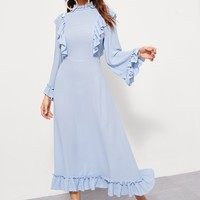 Ruffle Trim Bell Sleeve Dress