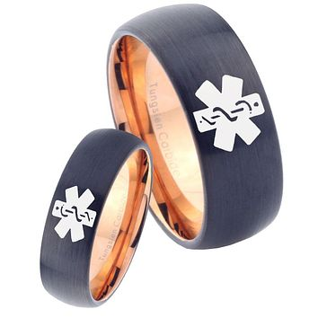 His Hers Medical Alerts Dome Tungsten Rose Gold Men's Wedding Ring Set