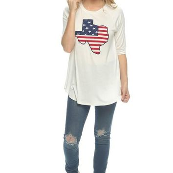 American Flag Texas Patch Top