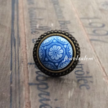 Blue Ring Exotic Tile Spanish Floral Paisley Moorish indie Bohemian Statement Vintage Glass Round Ring Adjustable Antique Brass Pewter T1