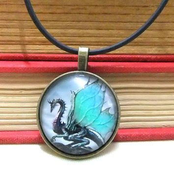 Cabochon Dragon Choker Necklace, Lucky Dragon Necklace, Bronze Cabochon Necklace, Mens Jewelry, Boys Necklace, Unisex Jewelry,Fantasy Choker