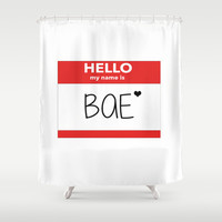 Hello My Name is Bae Shower Curtain by Poppo Inc. | Society6
