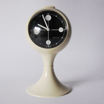 Vintage German White / Black Alarm Clock - Blessing 60s 70s