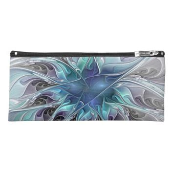 Flourish Abstract Modern Fractal Flower With Blue Pencil Case
