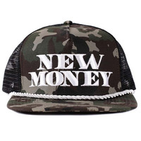New Money Trucker Cotton Twill in Woodland Camo