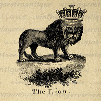 Digital Image Lion with Crown Printable Antique Download Graphic Vintage Clip Art for Transfers etc HQ 300dpi No.1008