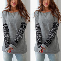 Sexy Slim Round-neck Long Sleeve Print Hoodies Bottoming Shirt [6338695940]