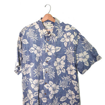 Vintage Hawaiian Shirt Honolulu Shirt Men's Hawaiian Shirt Short Sleeve Shirt Pineapple Hawaiian Shirt Size 2 XL