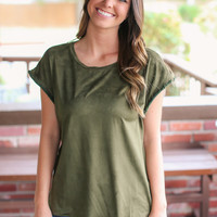 Free and Easy Suede Top - Olive