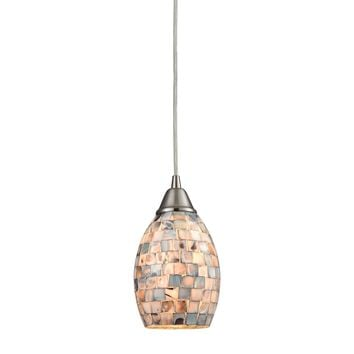 10444/1 Capri 1 Light Pendant In Satin Nickel And Gray Capiz Shell - Free Shipping!