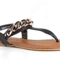 Sole Obsession Linker Gold Chain Sandals in Black LINKER-03-BLK