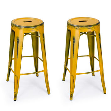 Antique Yellow 30-inch Metal Counter Bar Stools (Set of 2)