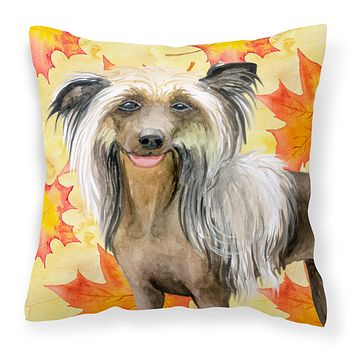 Chinese Crested Fall Fabric Decorative Pillow BB9920PW1414