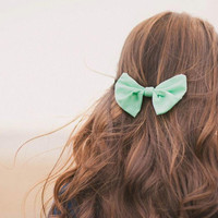 Mint Hair Bow Fabric Bow