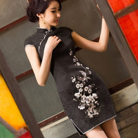 Spring And Summer Elegant Embroidery Cheongsam Dress For Women Fashion Female Vintage Slim Short Qipao Dress Black White