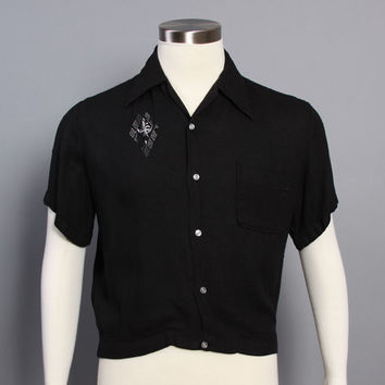 50s Embroidered Rockabilly SHIRT / Black Cotton Shirt-Jac, m