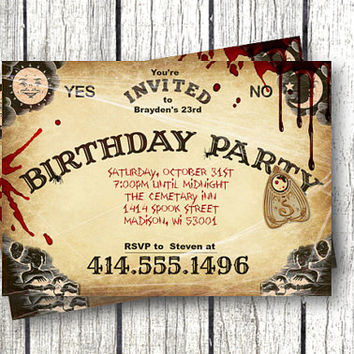 Ouija Board Invitation adult halloween Bloody scary halloween bash spooky haunted 5x7 printable invitation