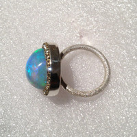 SALE Ethiopian Opal and austrian crystal sterling silver ring