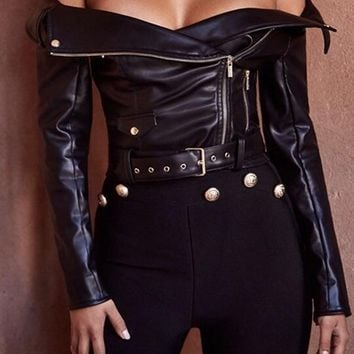 leather coat slash neck bomber jacket long sleeves front  zipper
