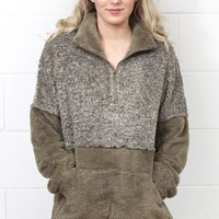 Color Block Sherpa Quarter Zip Pullover {Mocha}