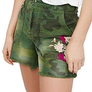 Free People Embroidered Scout Shorts Moss Size 2