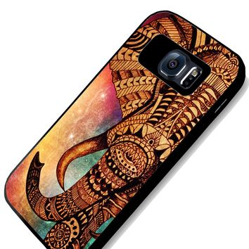 Elephant drawing galaxy nebula aztec Samsung S4 S5 S6 Case (samsung s6 black)