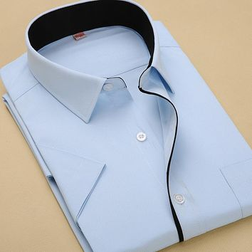 New Arrival Men's Fashion Clothes Men Solid Color Dress Shirts Short Sleeve Shirts For Men