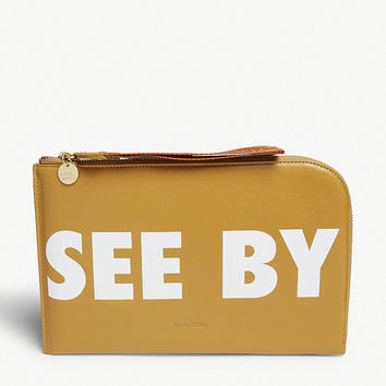 SEE BY CHLOE Logo grained leather clutch
