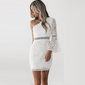 Off Shoulder Mini Lace Boho Style Long Sleeve Dress