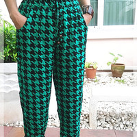 Green Checked Hippie Art Yoga Pants Boho Styles Funky Massage Gypsy Thai Genie Rayon Aladdin Clothing Beach Tie Dye Design Dress Thailand