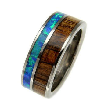 NICODEMUS Genuine Hawaiian Koa Wood & Opal Inlaid Titanium Wedding Band - 8mm