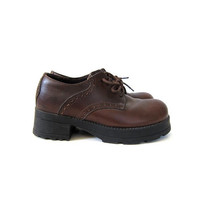 Vintage chunky oxfords brown leather lace ups fall boots / women's shoes size 6