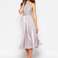 True Decadence Tall High Neck Lace Top Prom Dress at asos.com