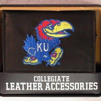 Kansas KU Jayhawks Embroidered Leather Trifold Wallet NEW in Gift Tin