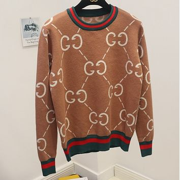 GUCCI wild sweater women's sweet college wind round neck double g letter sweater Khaki