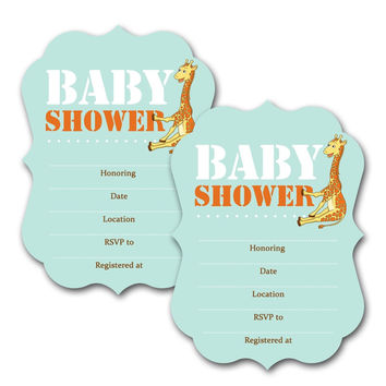 20 ~ Die Cut Giraffe Baby Shower FILL IN ~ Kids Custom Birthday Invitations