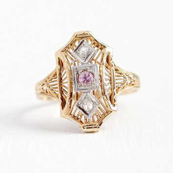 Vintage Filigree Ring - 14k Rosy Yellow Gold Genuine Pink Sapphire Diamond Shield Statement - Art Deco 1930s Size 6 Dinner Ring Fine Jewelry