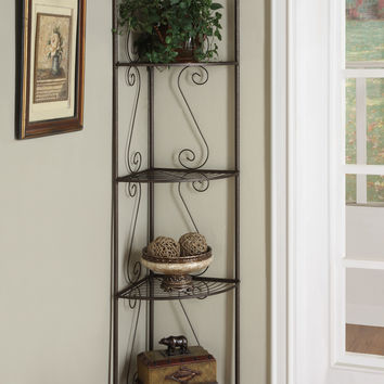 "Bookcase - 70""H - Copper Metal Corner Etagere"