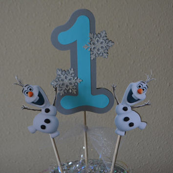 Olaf Frozen centerpiece, Disney Olaf number centerpiece for frozen themed birthday party