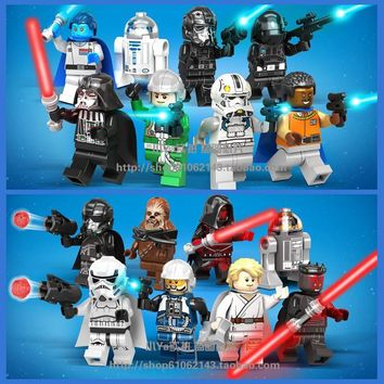 Star Wars Force Episode 1 2 3 4 5 16pcs  Luke Skywalker Jedi Clone Troopers Darth Maul Darth Vadar Chewbacca R2-D2 Figure Toys Compatible With Lego AT_72_6