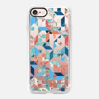 Patchwork Pattern in Red- Blue- Teal and Navy on transparent iPhone 7 Case by Micklyn Le Feuvre | Casetify