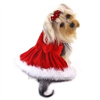 Elegant Red Velvet Furry Dress - Apparel - Dresses Posh Puppy Boutique