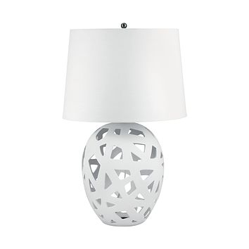 324W Open Work Bisque Ceramic Table Lamp In White