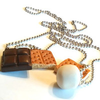 Best Friends S'Mores Pendants, Polymer Clay Food Jewelry, BFF