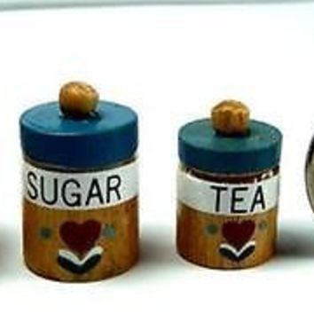 Kitchen Canister Set Blue Flour Sugar Tea